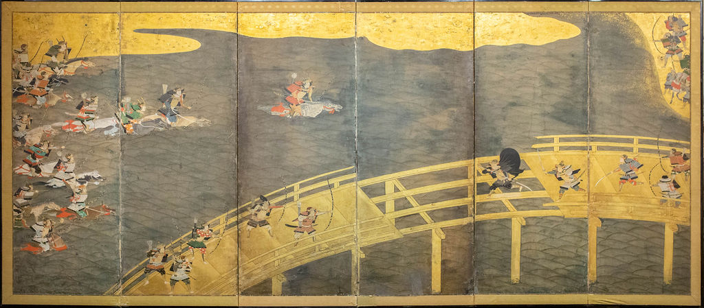 Japanese Six Panel Screen: Battle at Uji Bridge