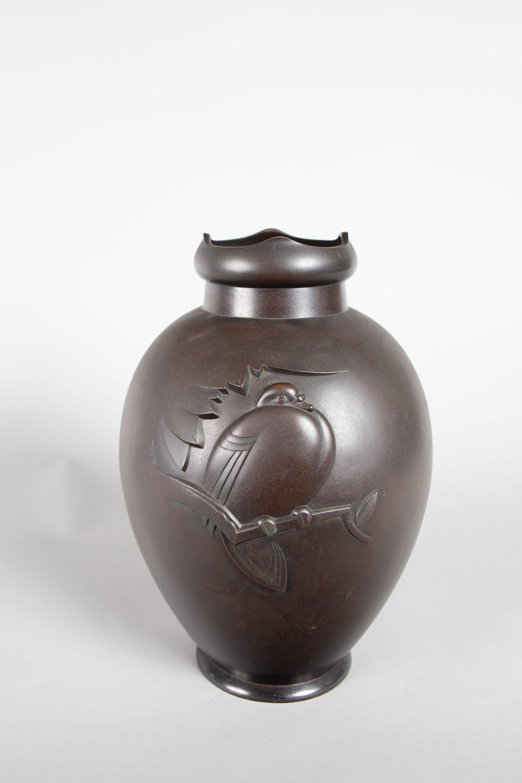 Japanese Bronze Vase with Pigeon Design