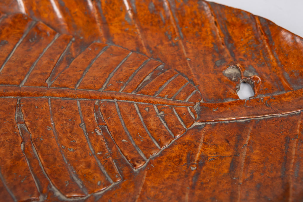 Japanese Carved Burl Banana Leaf Tray