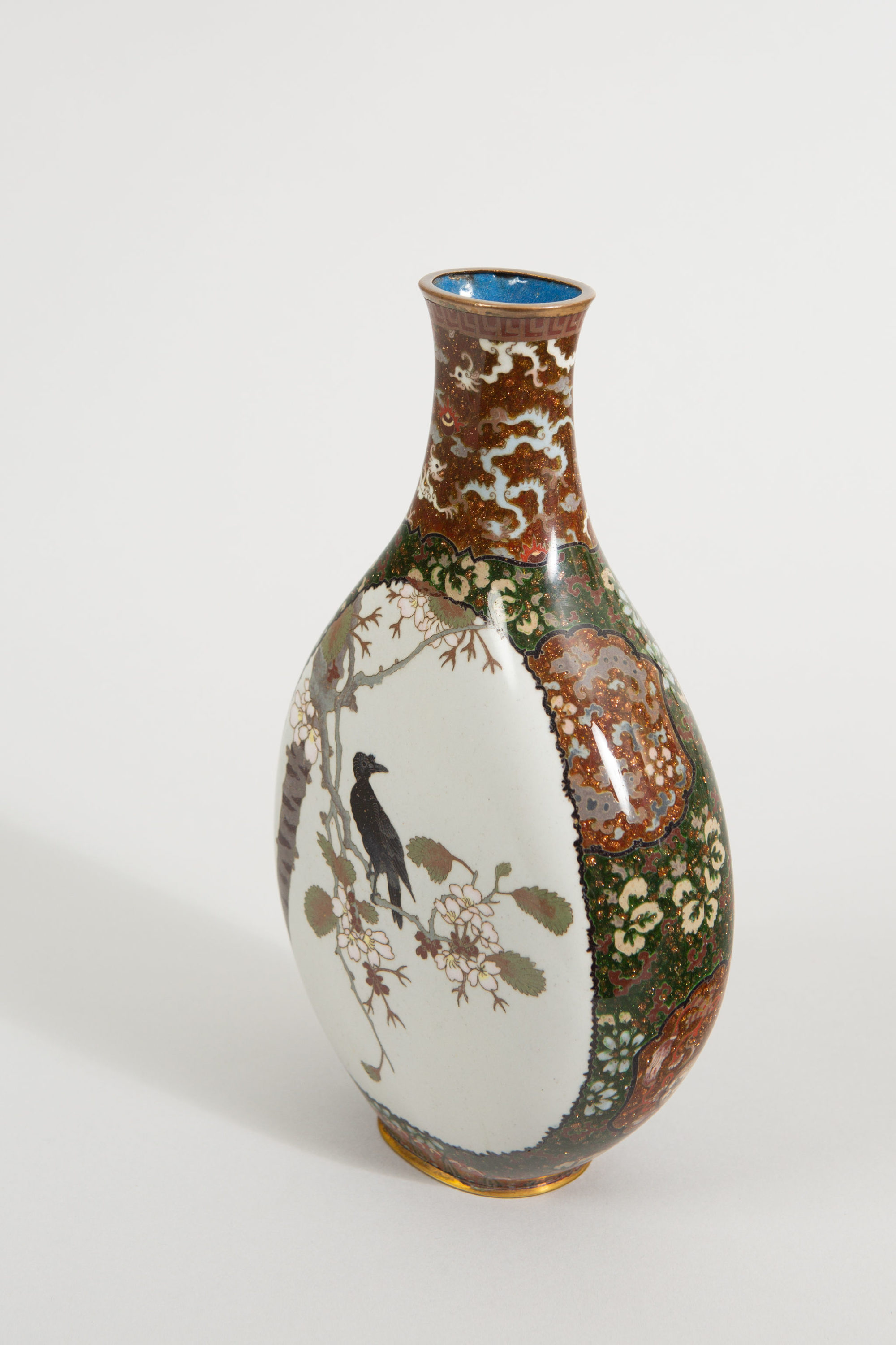 Japanese Cloisonné Vase with Raven and Waterfowl
