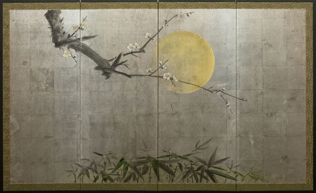 Japanese Four Panel Screen: Moonlit Plum in Bloom with Bamboo,