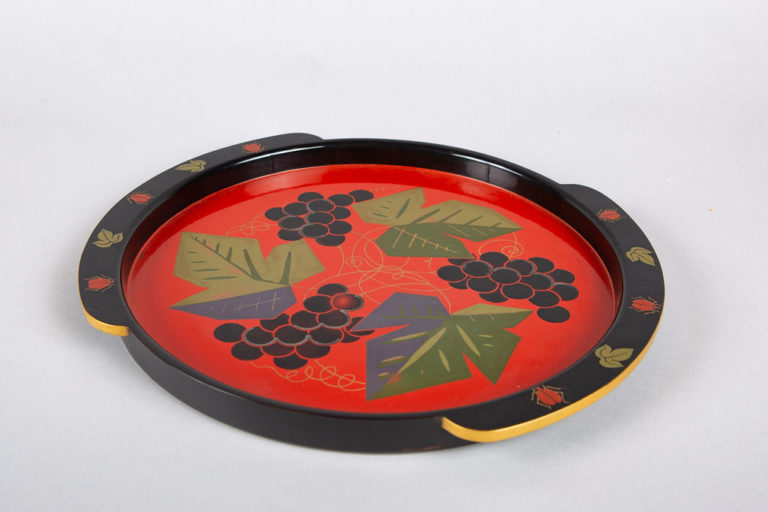 Japanese Lacquer Tray with Grape Design
