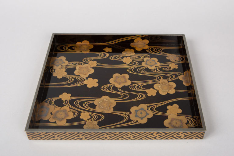 Japanese Lacquer Tray, Cherry Blossoms On Flowing Stream