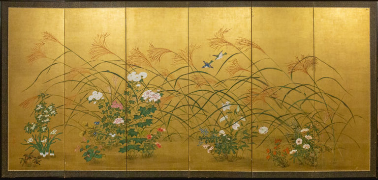 Japanese Six Panel Screen: A Garden For All Seasons