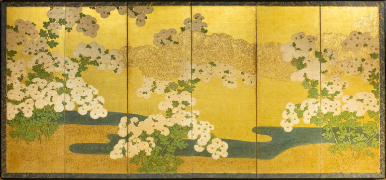 Japanese Six Panel Screen: Rimpa School Chrysanthemums on Gold