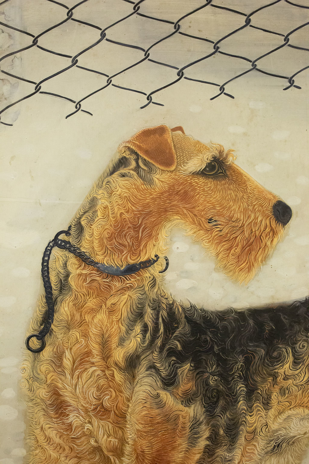 Japanese Two Panel Screen: Airedale Terrier