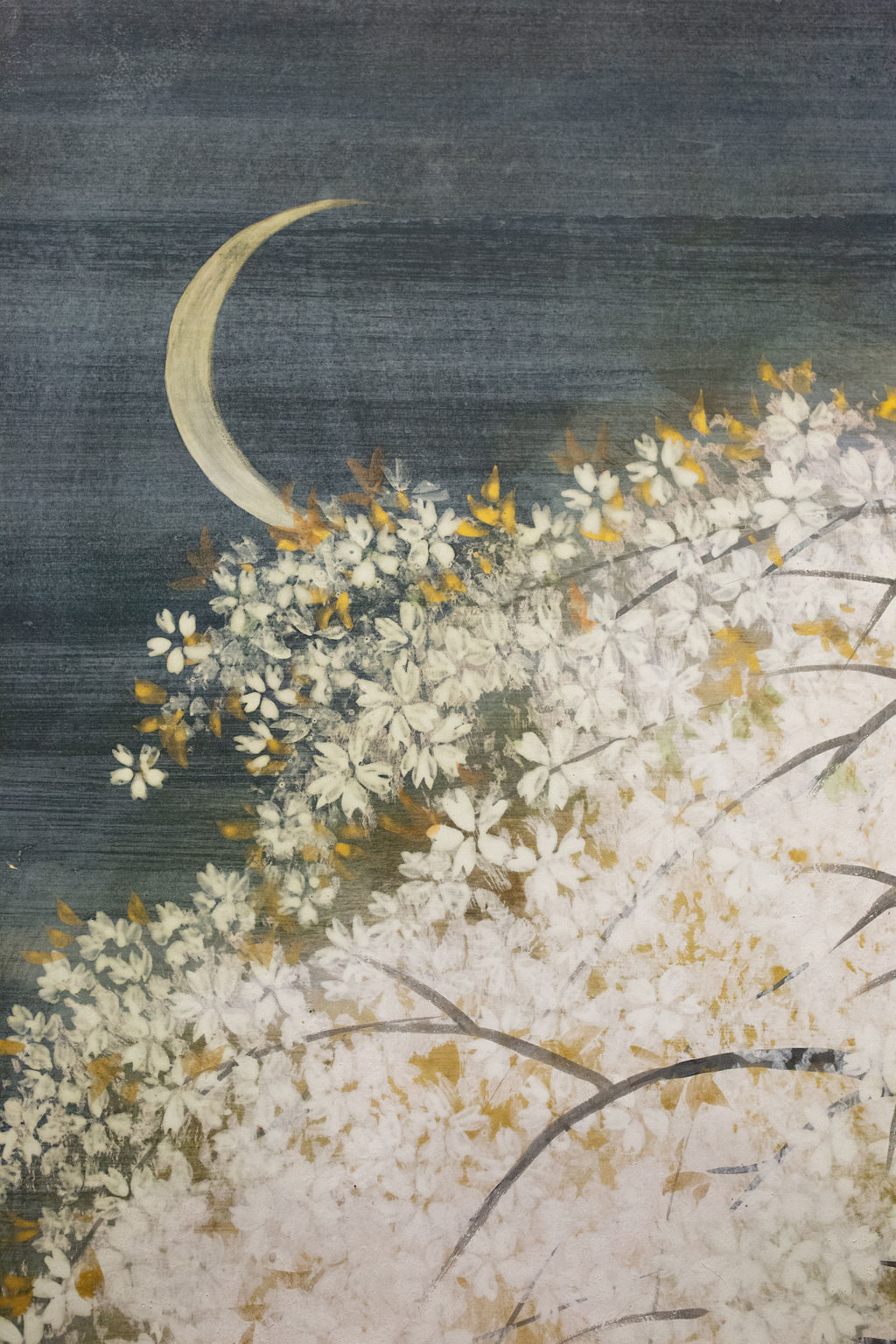 Japanese Two Panel Screen: Cherry Blossoms at Night