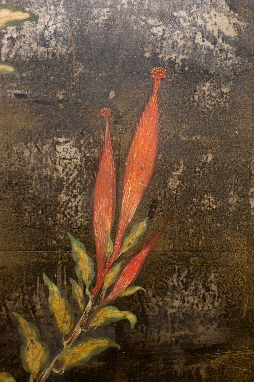 Japanese Two Panel Screen: Cocksomb Flowers at Night