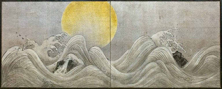 Japanese Two Panel Screen: Exaggerated Waves on Silver Leaf and Golden Sun