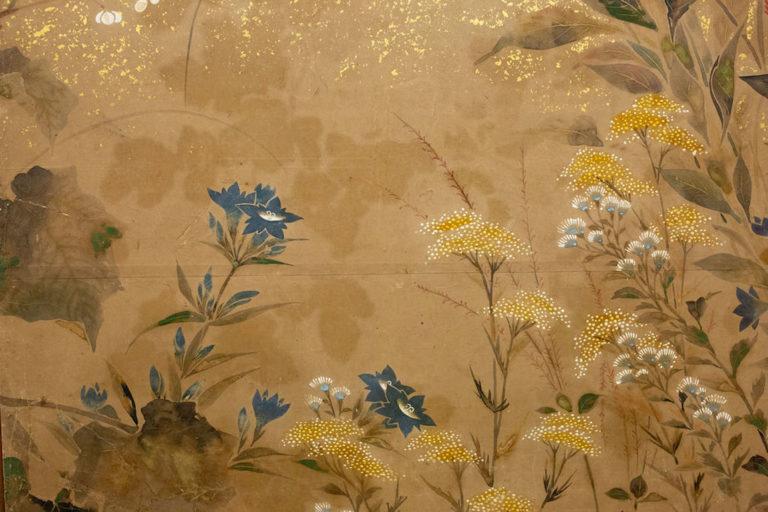 Japanese Two Panel Screen: Flower Garden