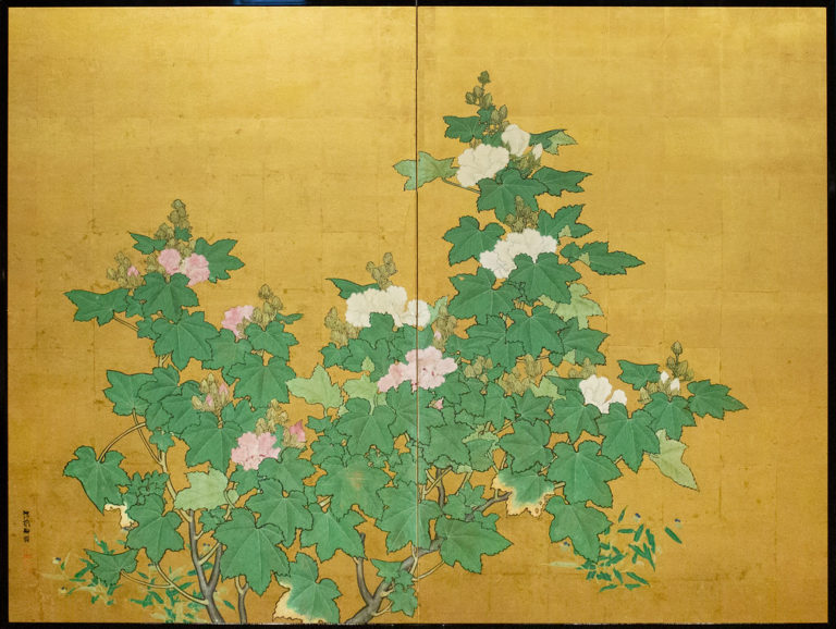 Japanese Two Panel Screen: Flowering Mallow Tree
