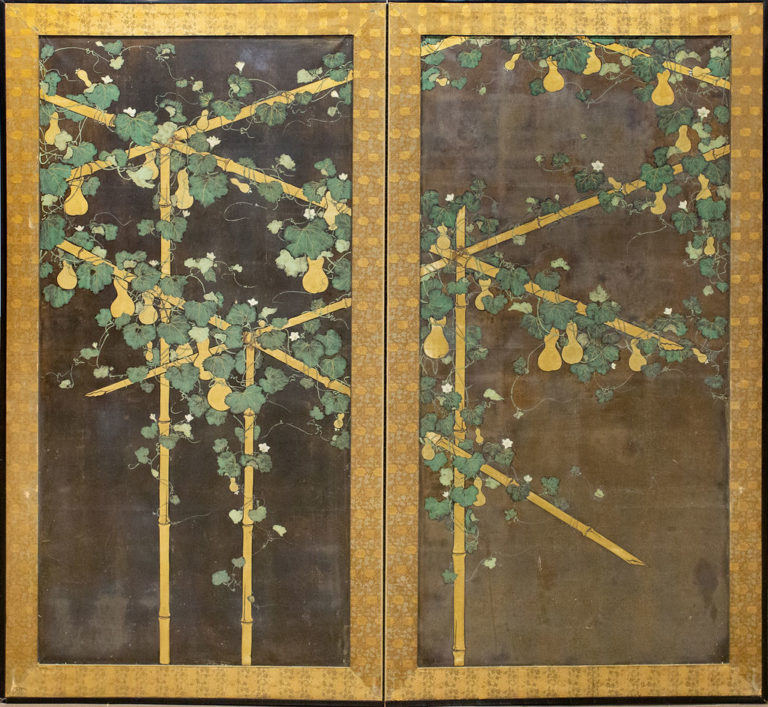 Japanese Two Panel Screen: Gourds on Bamboo Arbor
