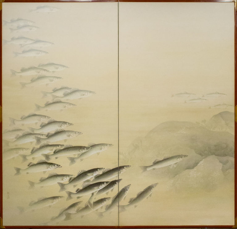 Japanese Two Panel Screen: School of River Fish