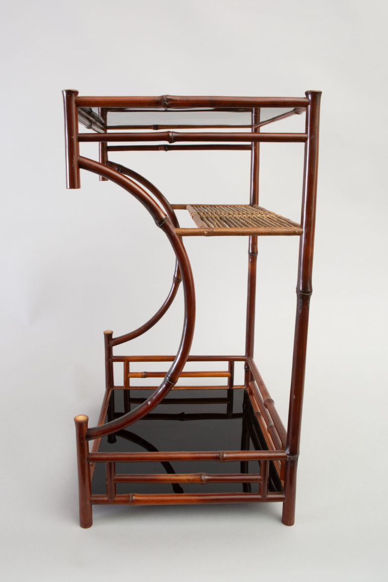 Small Japanese Bamboo and Black Lacquer Utility Stand