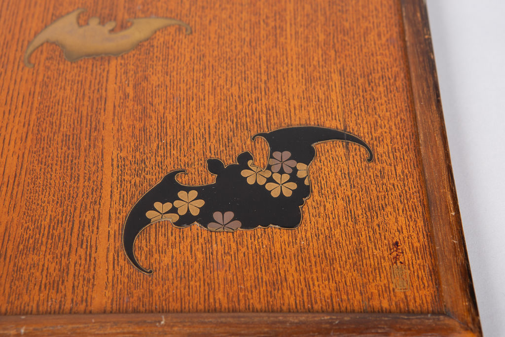 Wood Tray with Bat Design