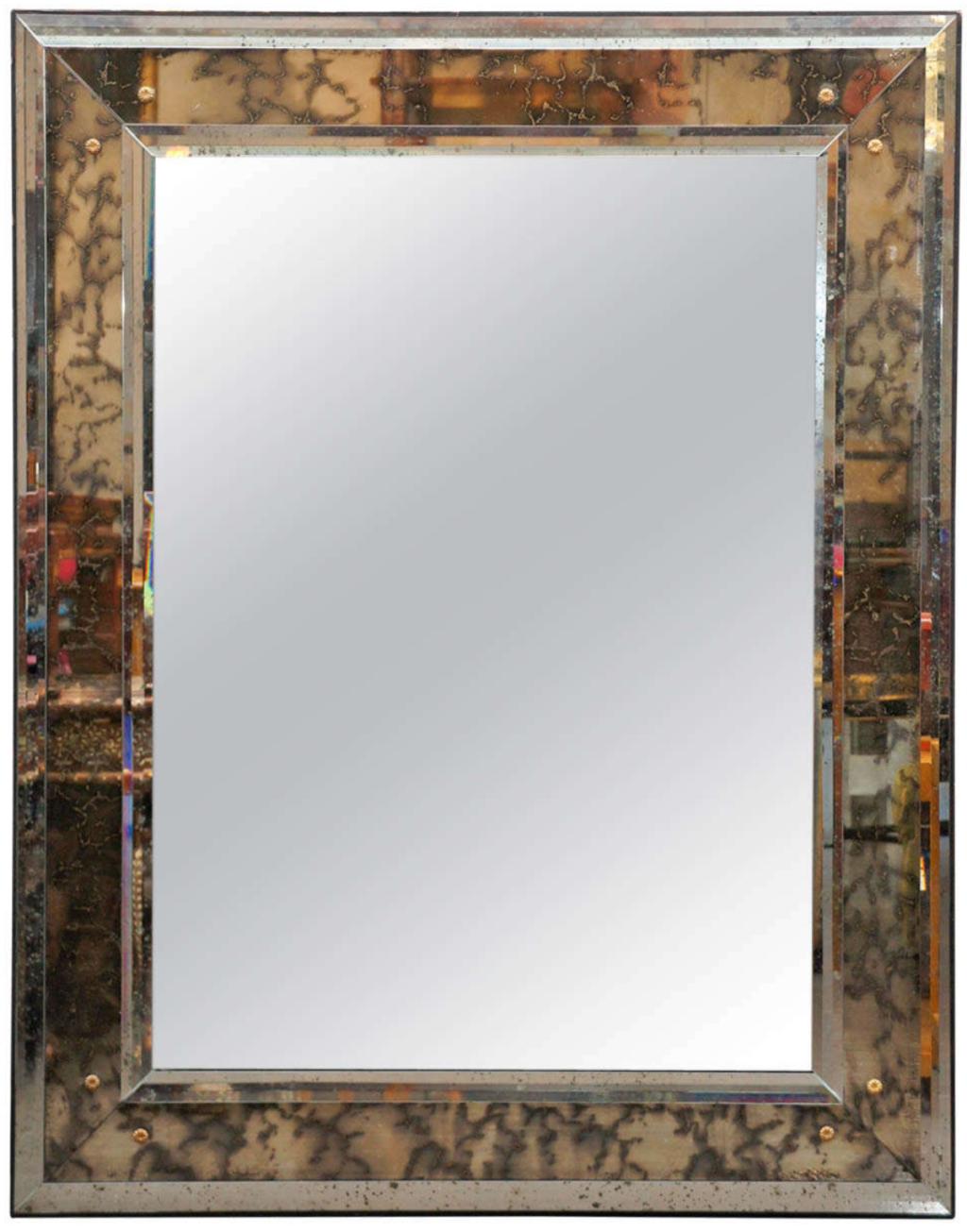 Italian Mirror with Gold Flower Hardware