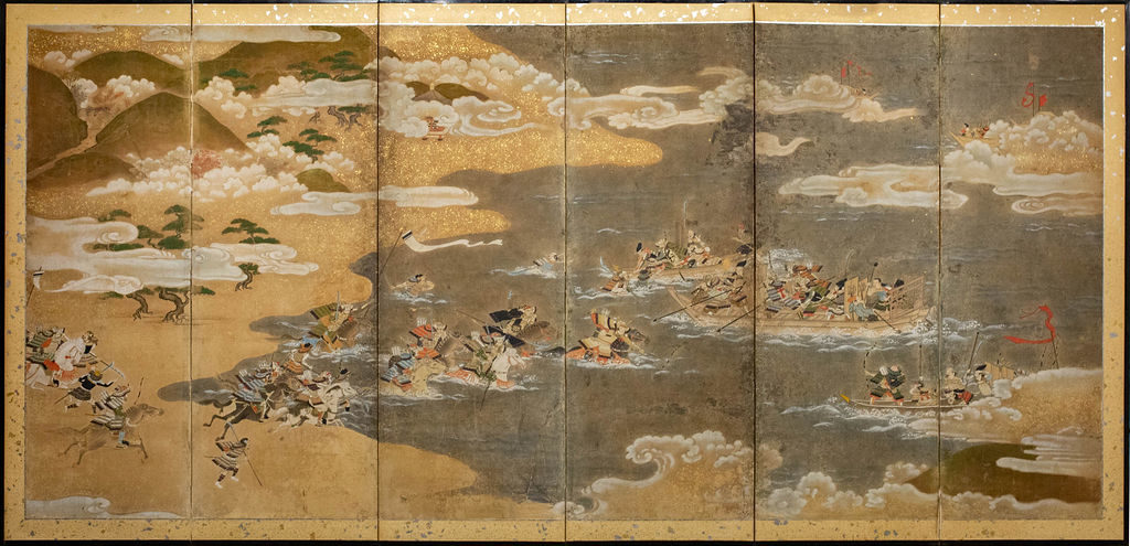 Japanese Six Panel Screen: Tosa School Painting of the Battle of Yashima