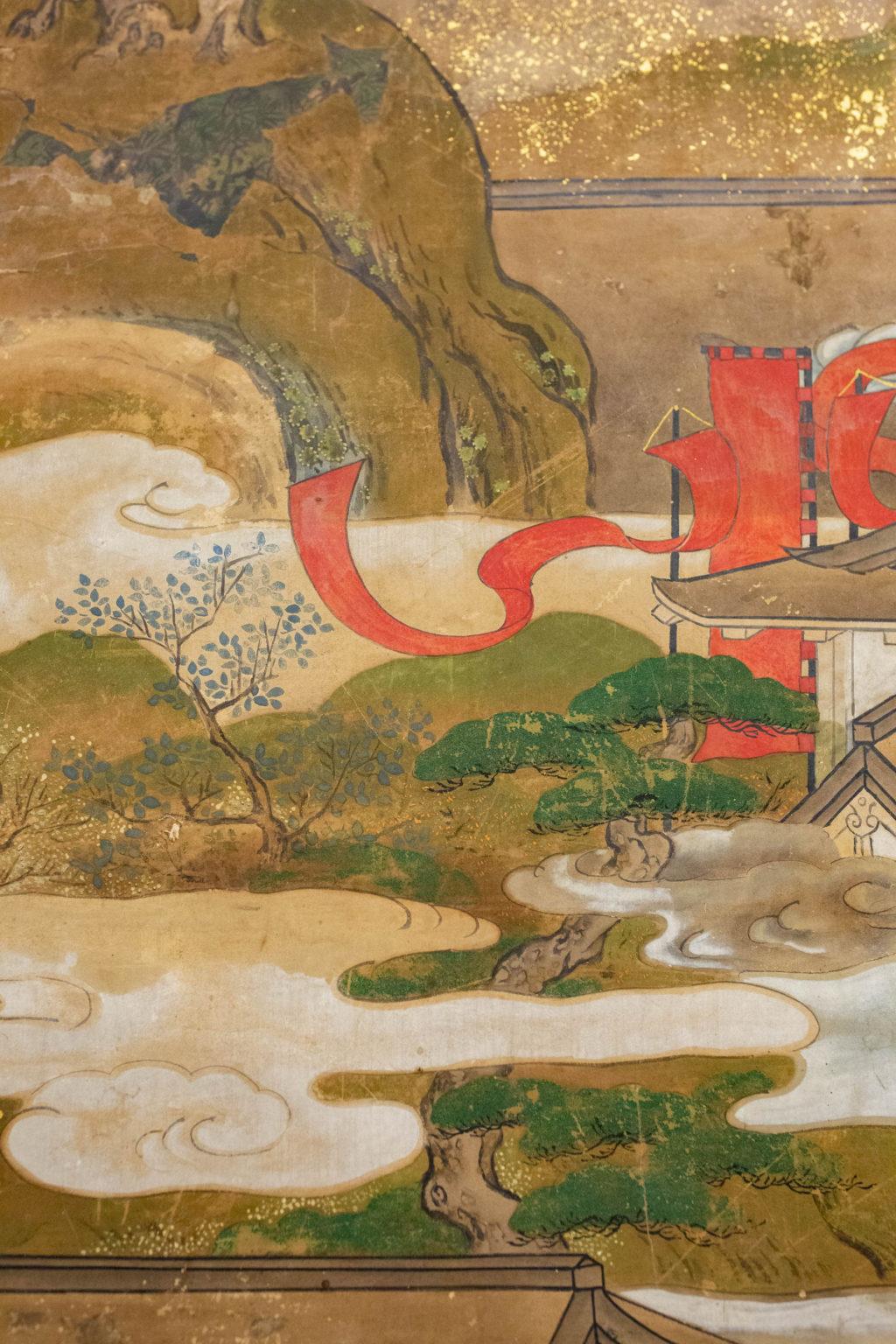 Japanese Six Panel Screen: Tosa School Painting of the Battle of Ichinotani
