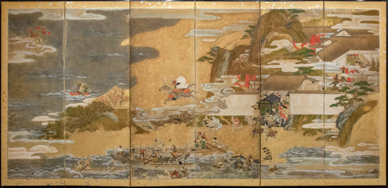 Japanese Six Panel Screen: Tosa School Painting of the Battle of Ichinotani