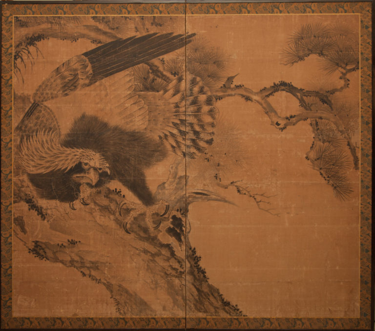 Japanese Two Panel Screen: Hawk Perched in Pine Tree