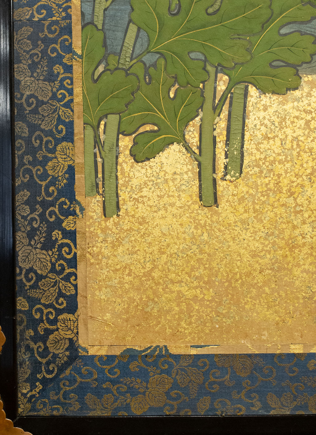 Japanese Six Panel Screen: Rimpa School Chrysanthemums on Gold – B