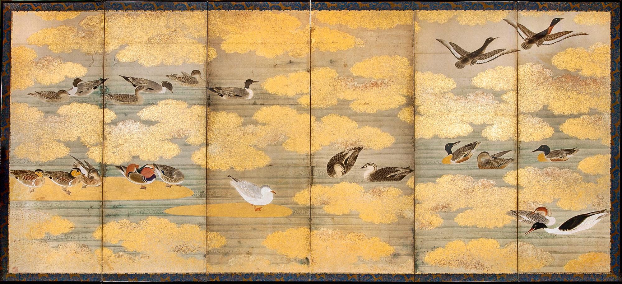 Japanese Six Panel Screen: Study of Waterfowl – B