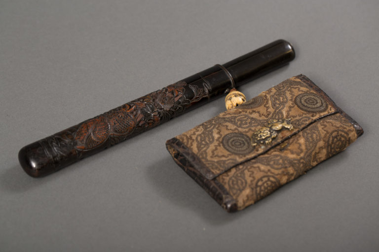 Japanese Pipe With Case and Tobacco Pouch