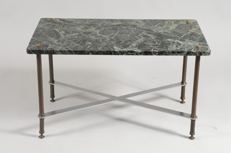 French 1940s Bronze and Marble Cocktail Table