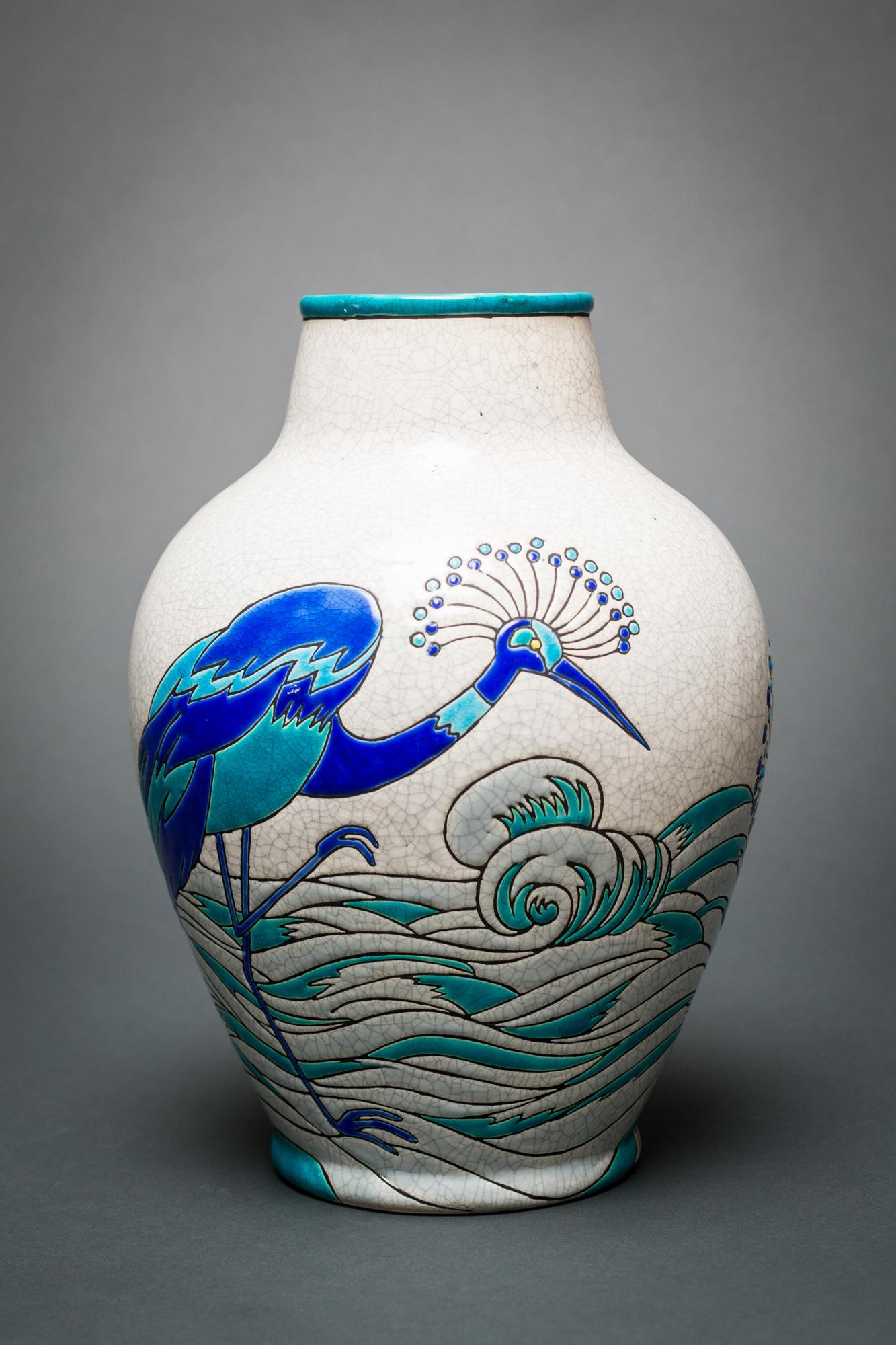 Keramis Vase with Ostritch