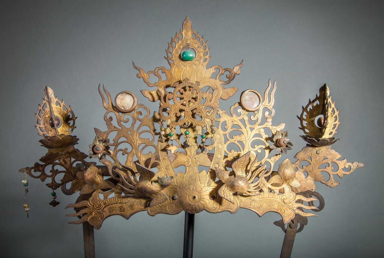 Pair of 18th Century Japanese Buddhist Temple Headdress and Necklace Ornaments