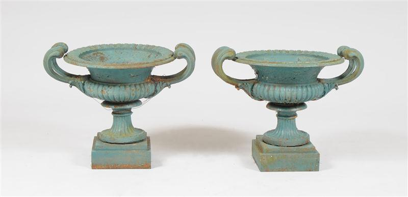 Pair of French Green Painted Garden Urns