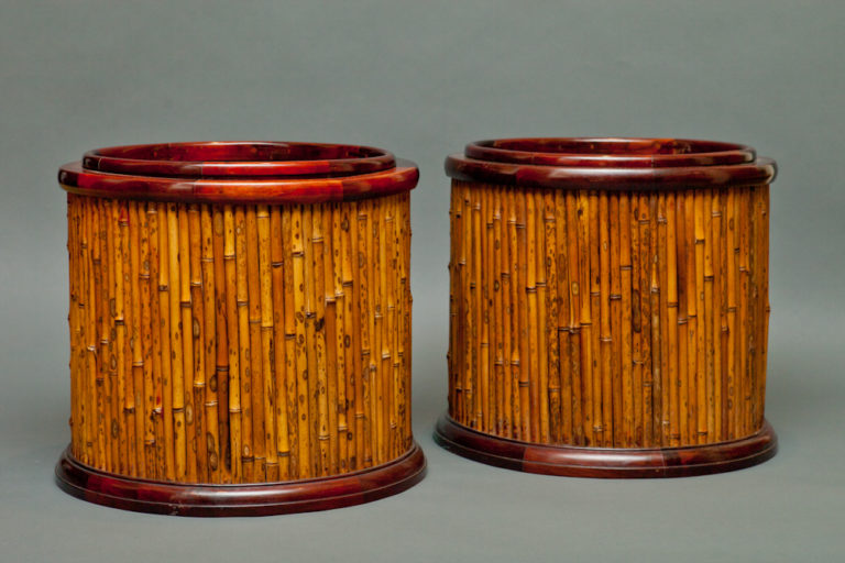 Pair of Japanese Rosewood and Bamboo Round Hibachi