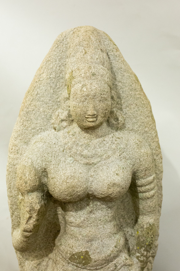 Indian Grey Granite Figure of Bhudevi