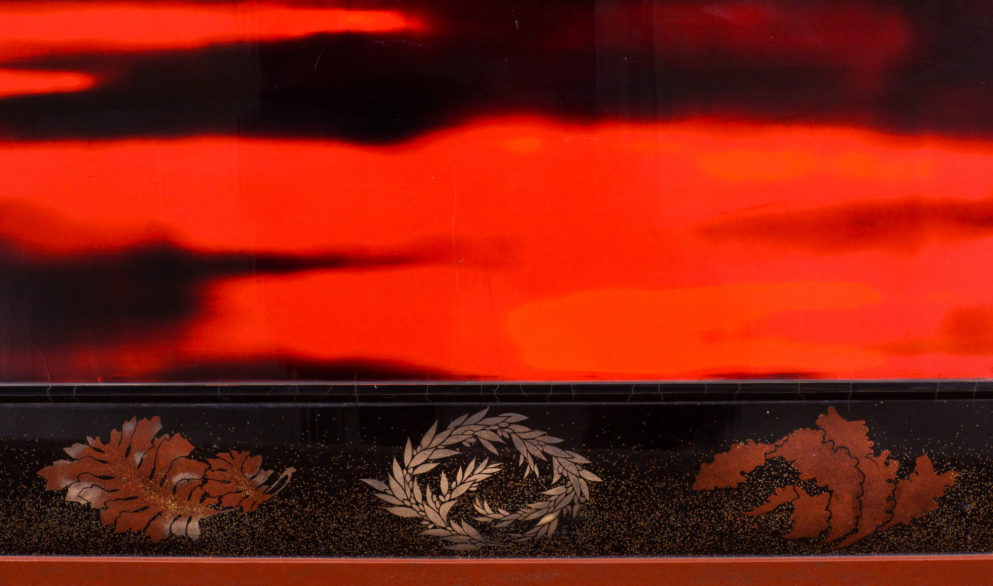 Japanese Two Panel Lacquer Screen: Waves on a Shoreline