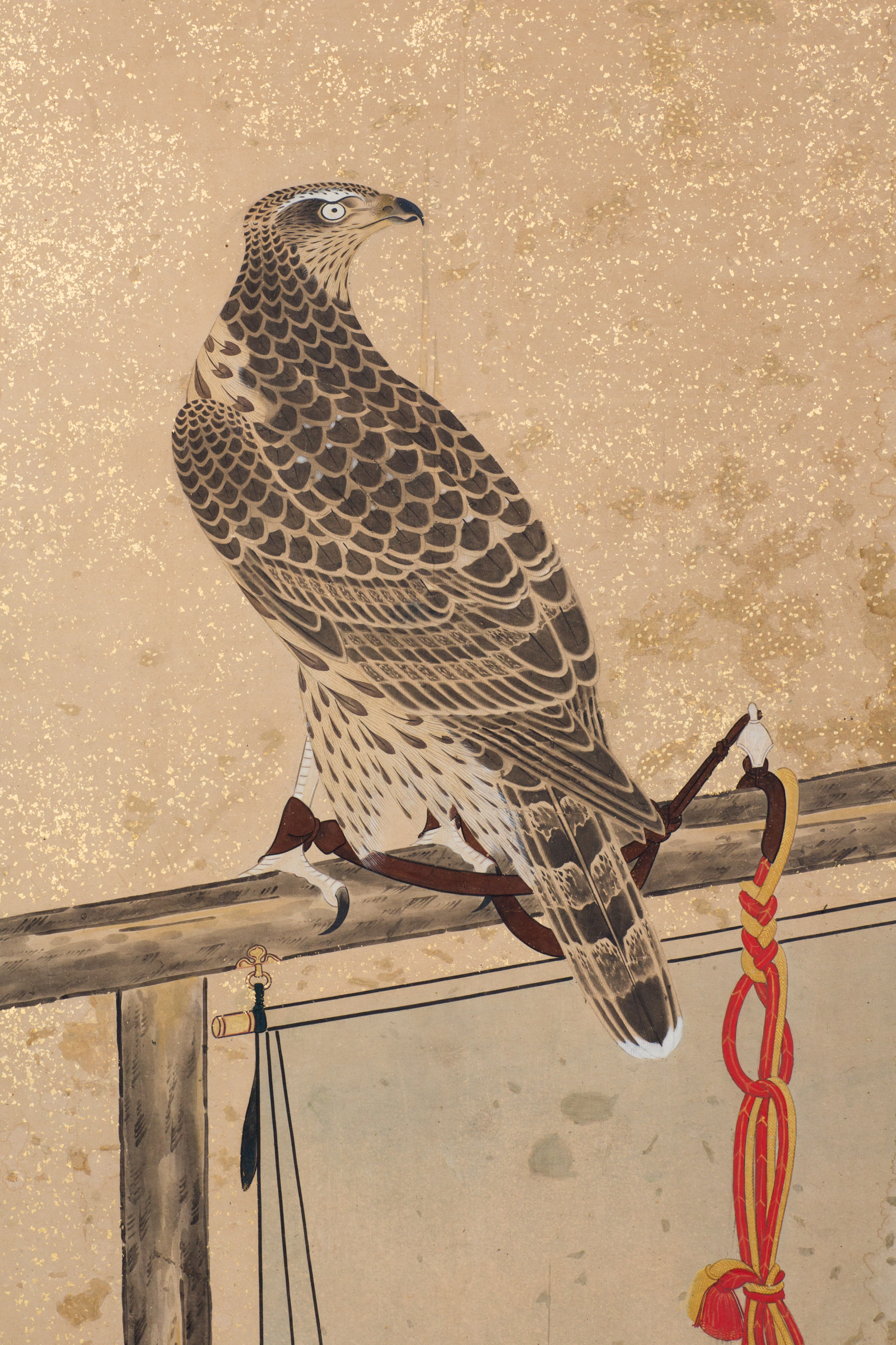 Japanese Two Panel Screen: Hunting Falcons