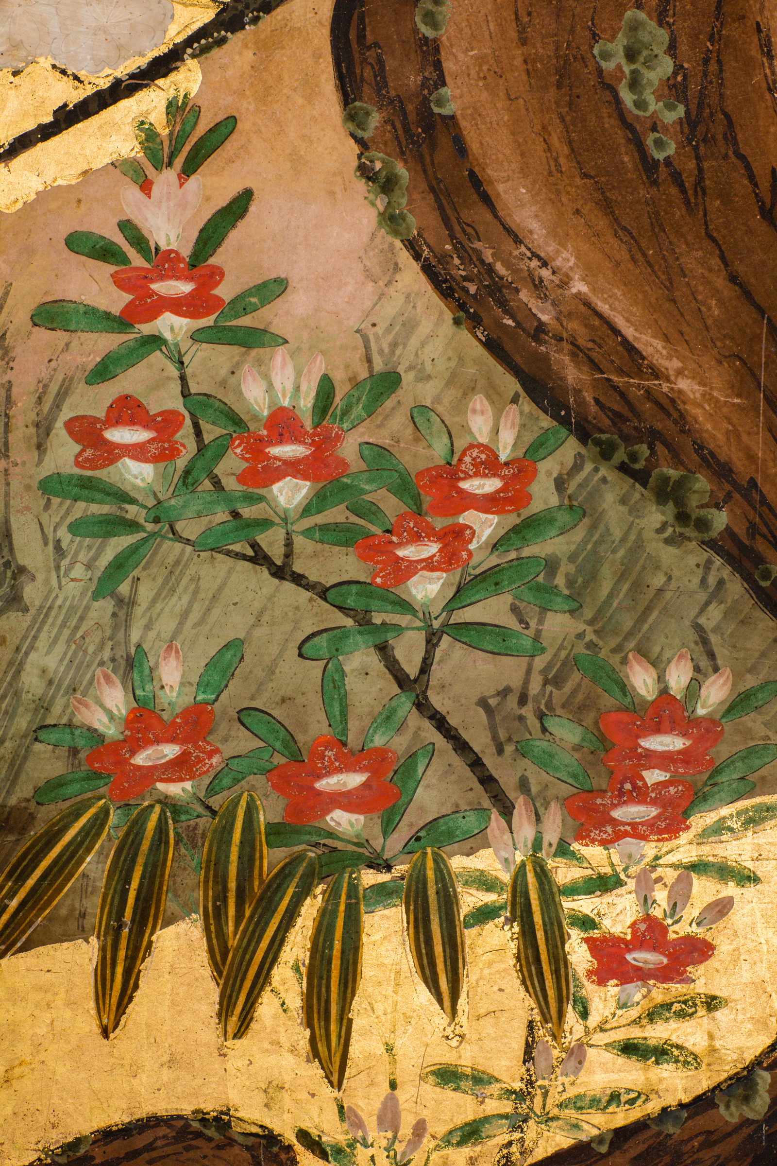 Japanese Six Panel Screen: Garden Landscape by River's Edge