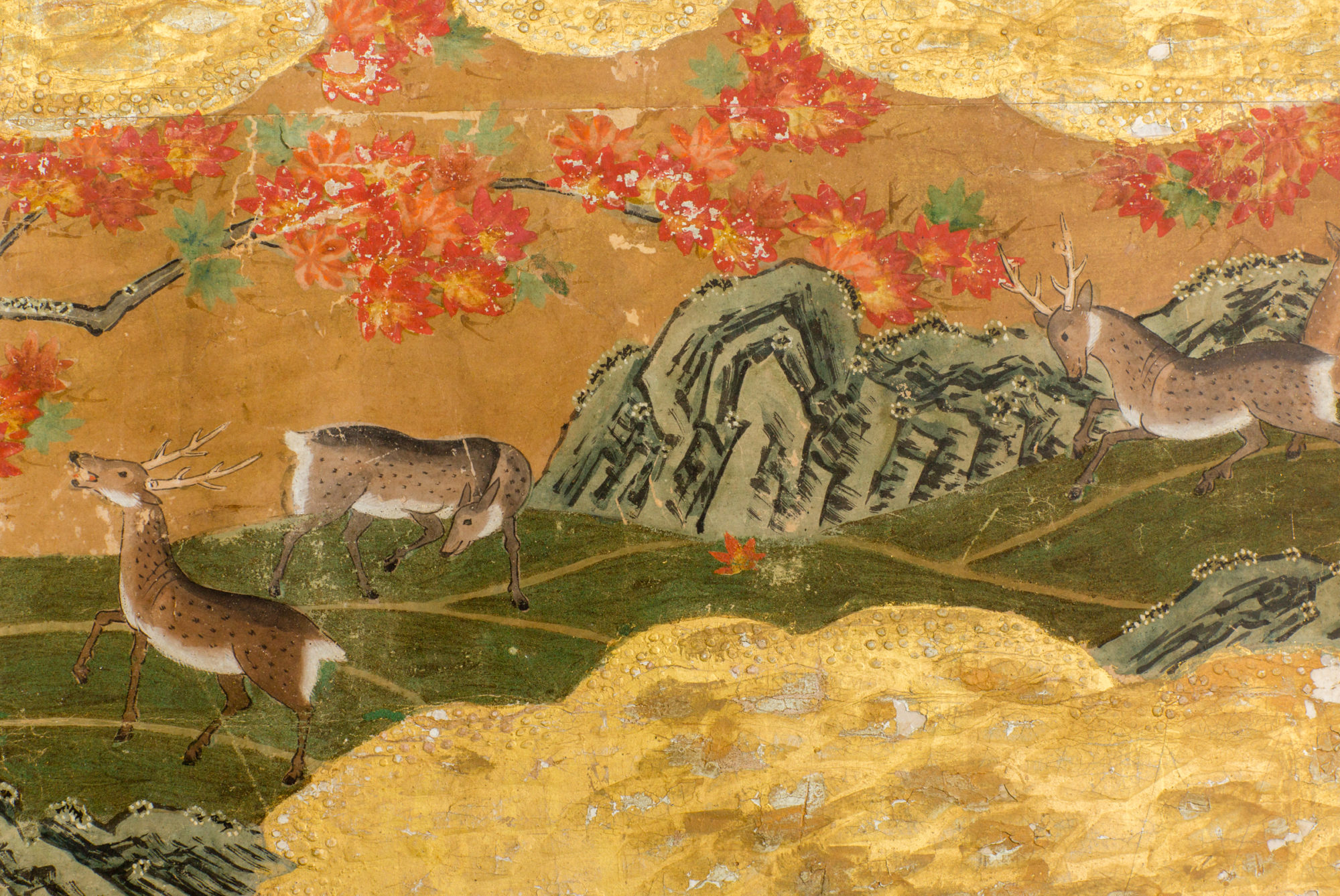 Japanese Five Panel Screen: Winter Into Fall