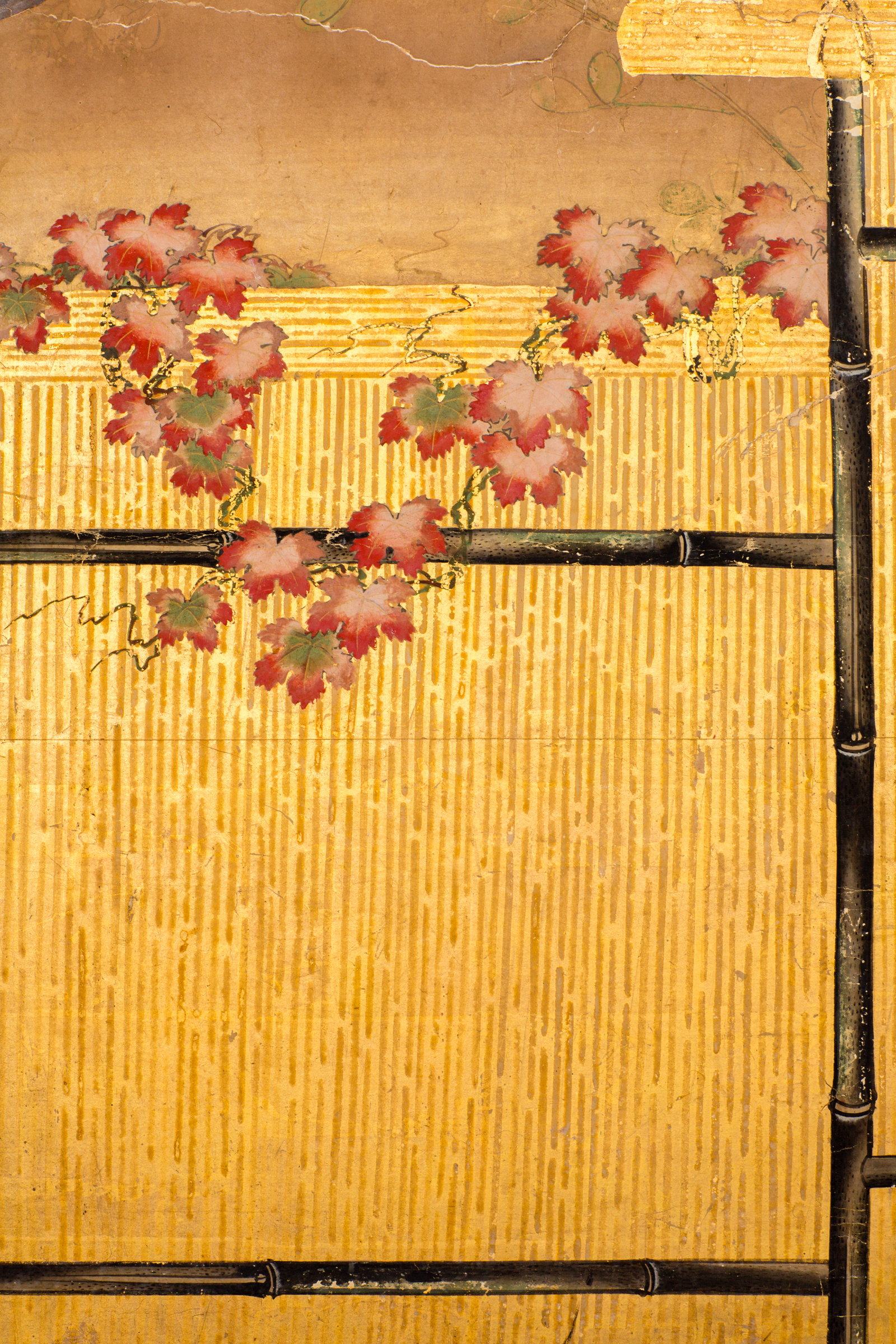 Japanese Two Panel Screen: Birds on a Fence