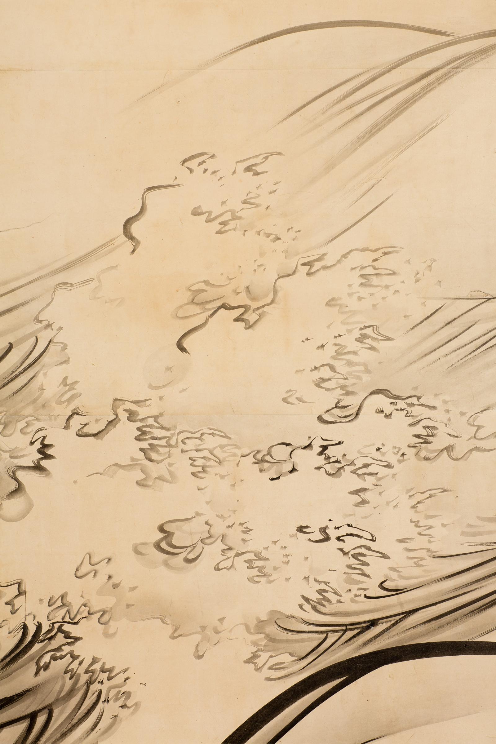 Japanese Six Panel Screen: Open Ocean