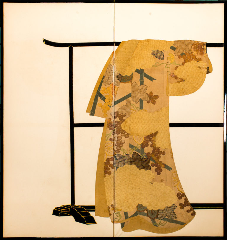 Japanese Two Panel Screen: Tagasode (Whose Sleeves?)