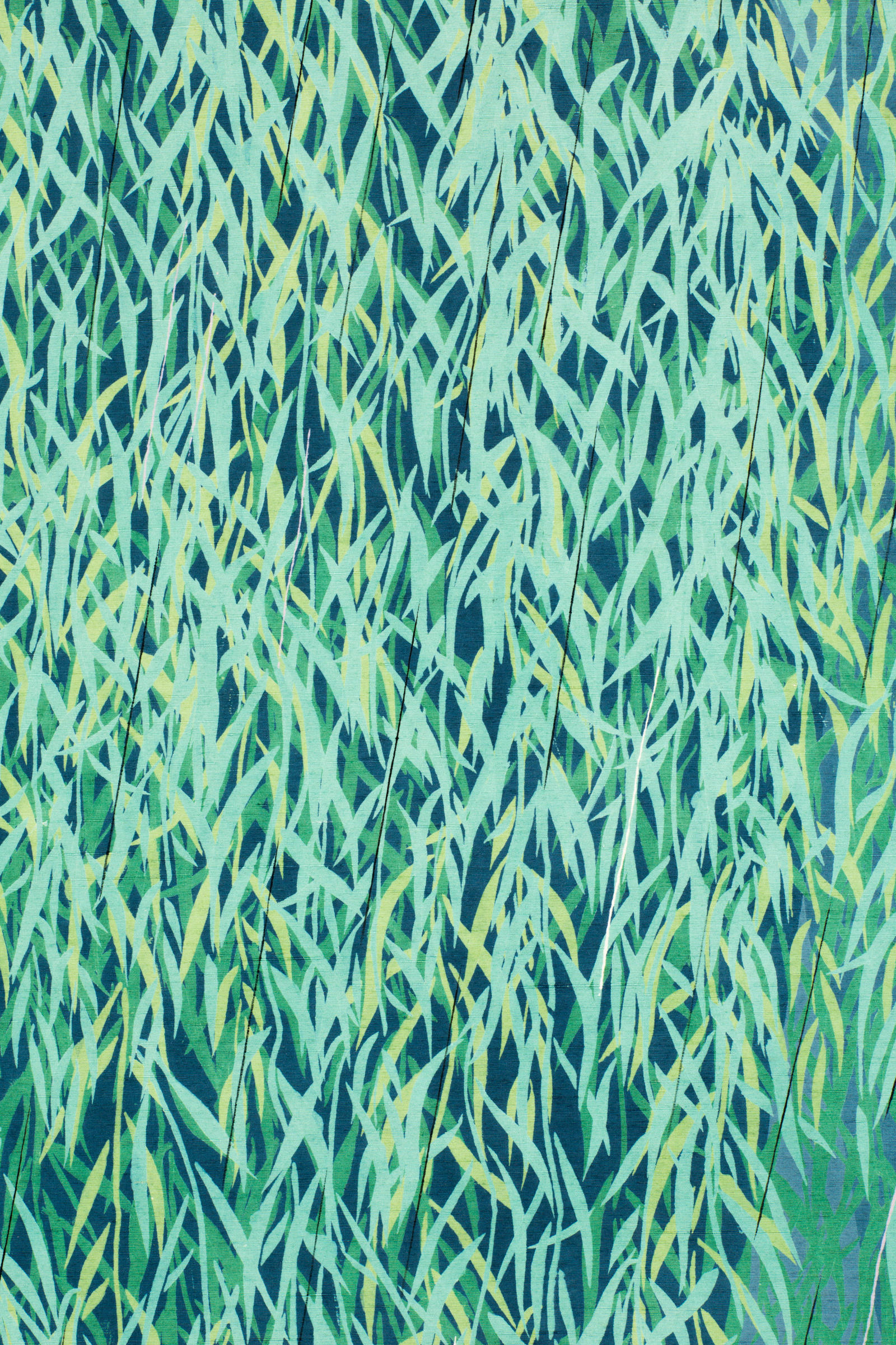 Japanese Two Panel Screen: Willow Textile