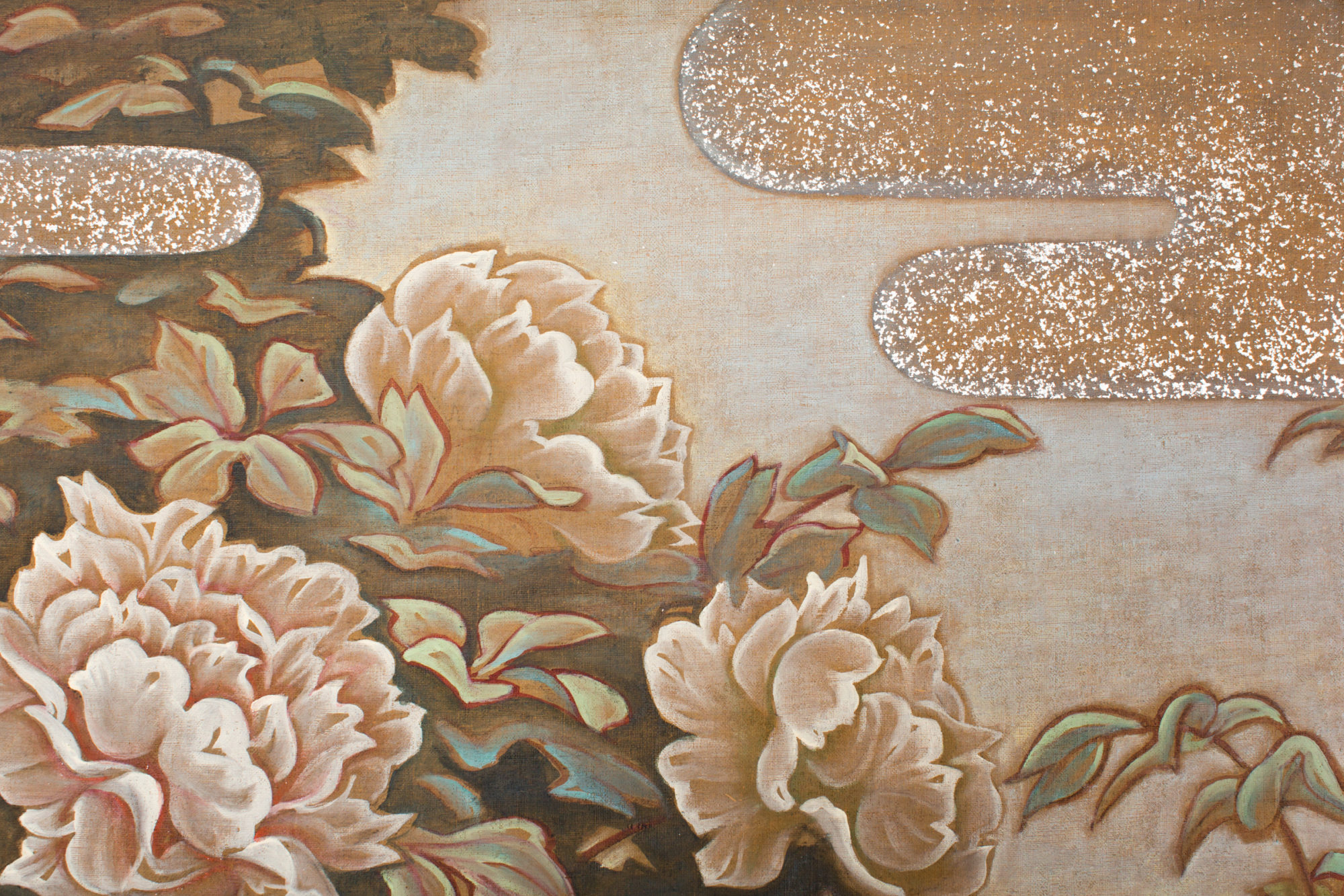 Japanese Two Panel Screen: Peonies In the Mist