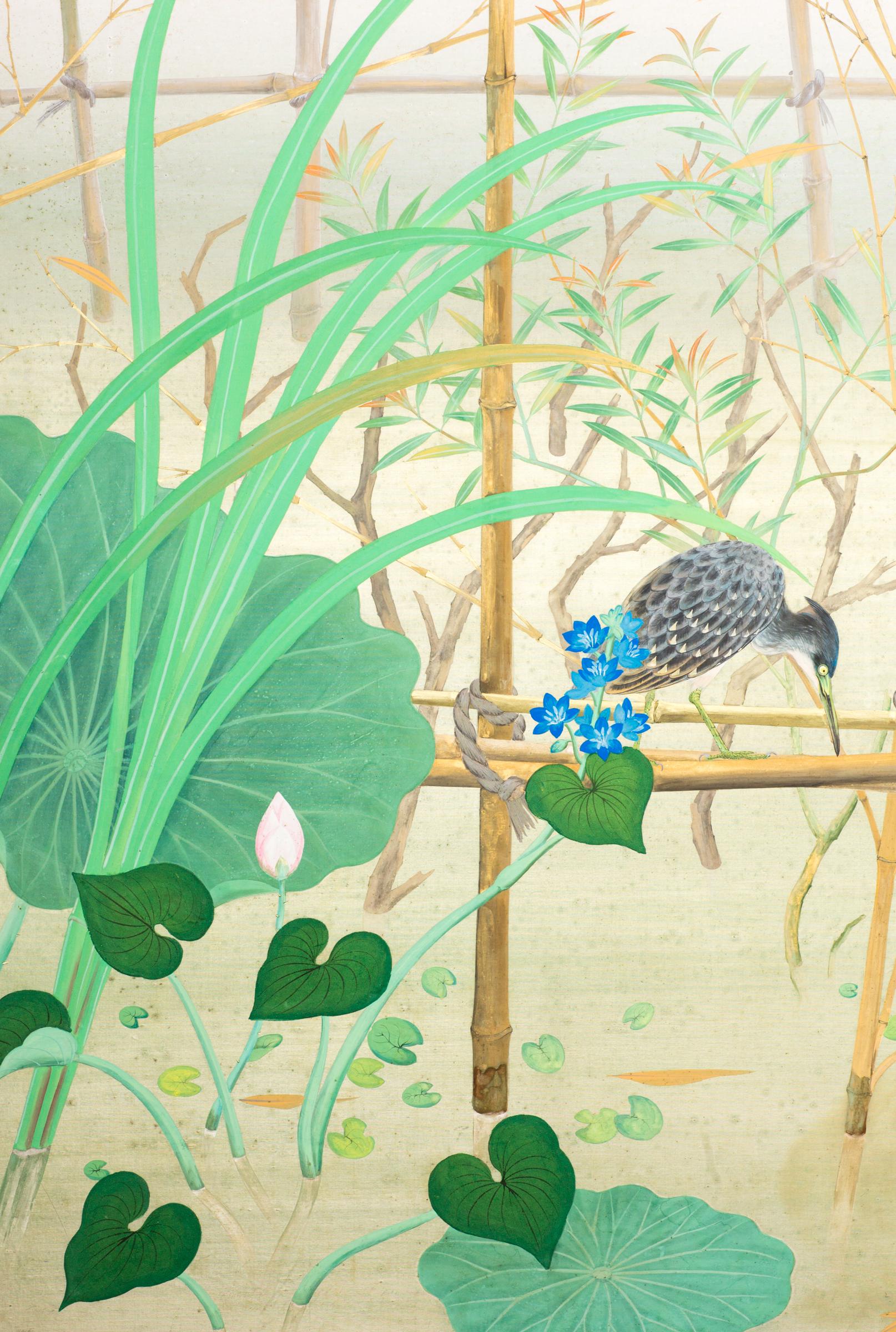 Japanese Two Panel Screen: Marsh Flowers