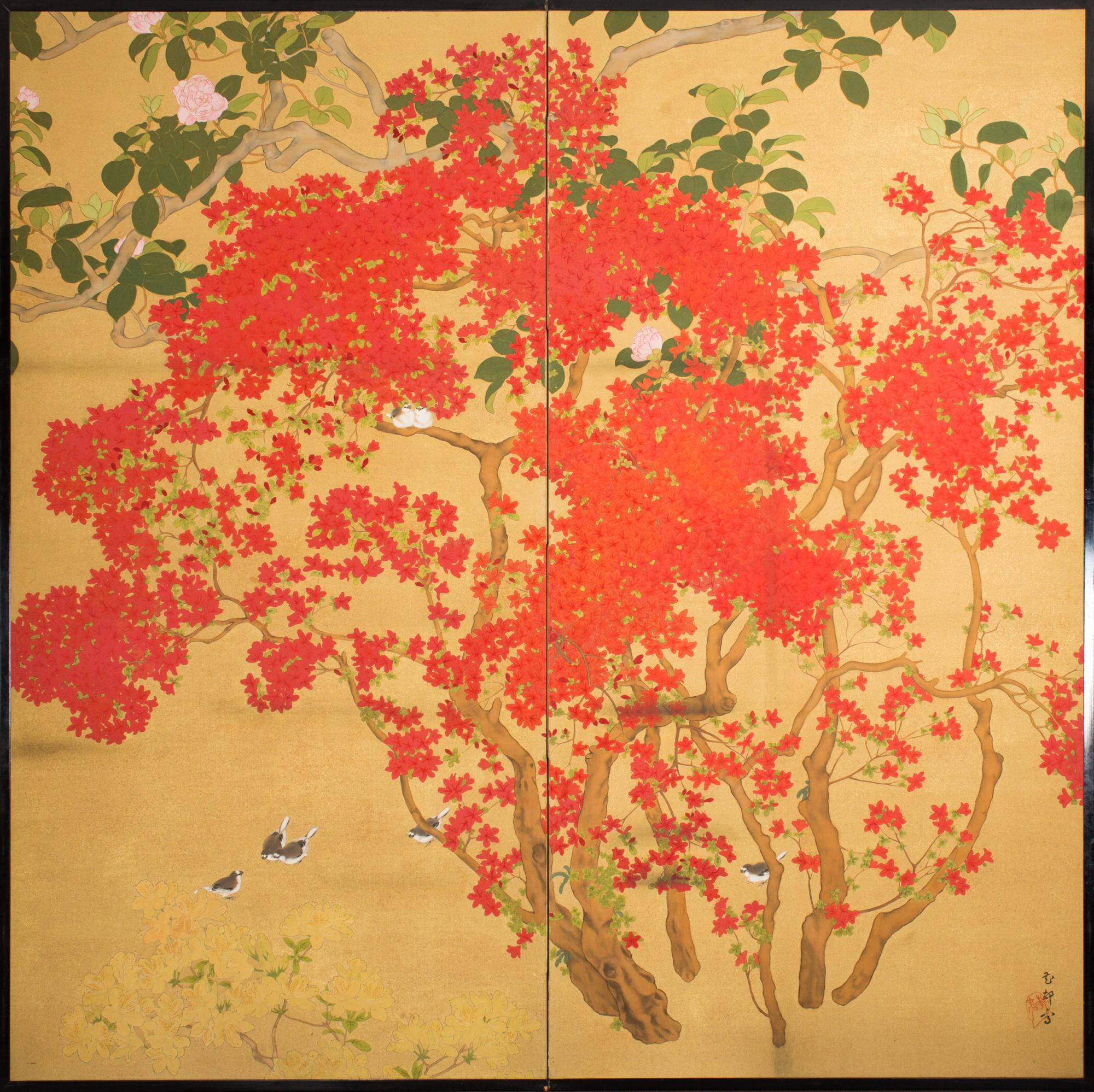 Japanese Two Panel Screen: Azalea Tree With Birds