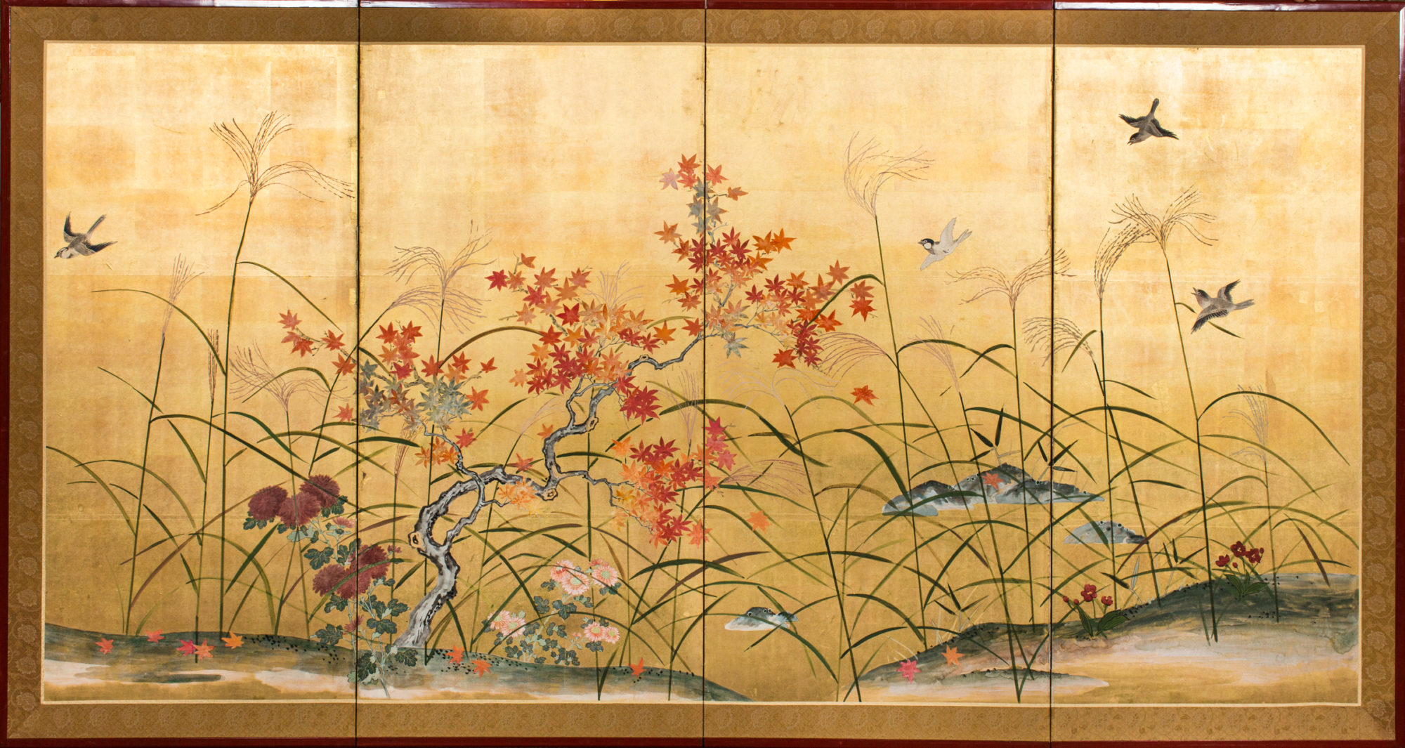 Japanese Four Panel Screen: Autumn Flowers