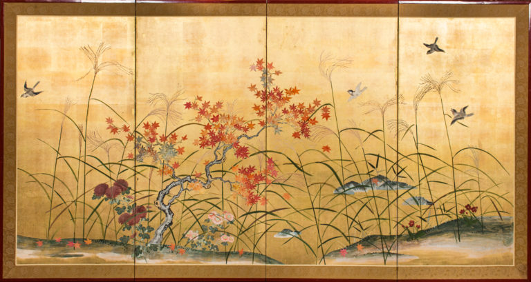 Japanese Four Panel Screen: Autumn Flowers