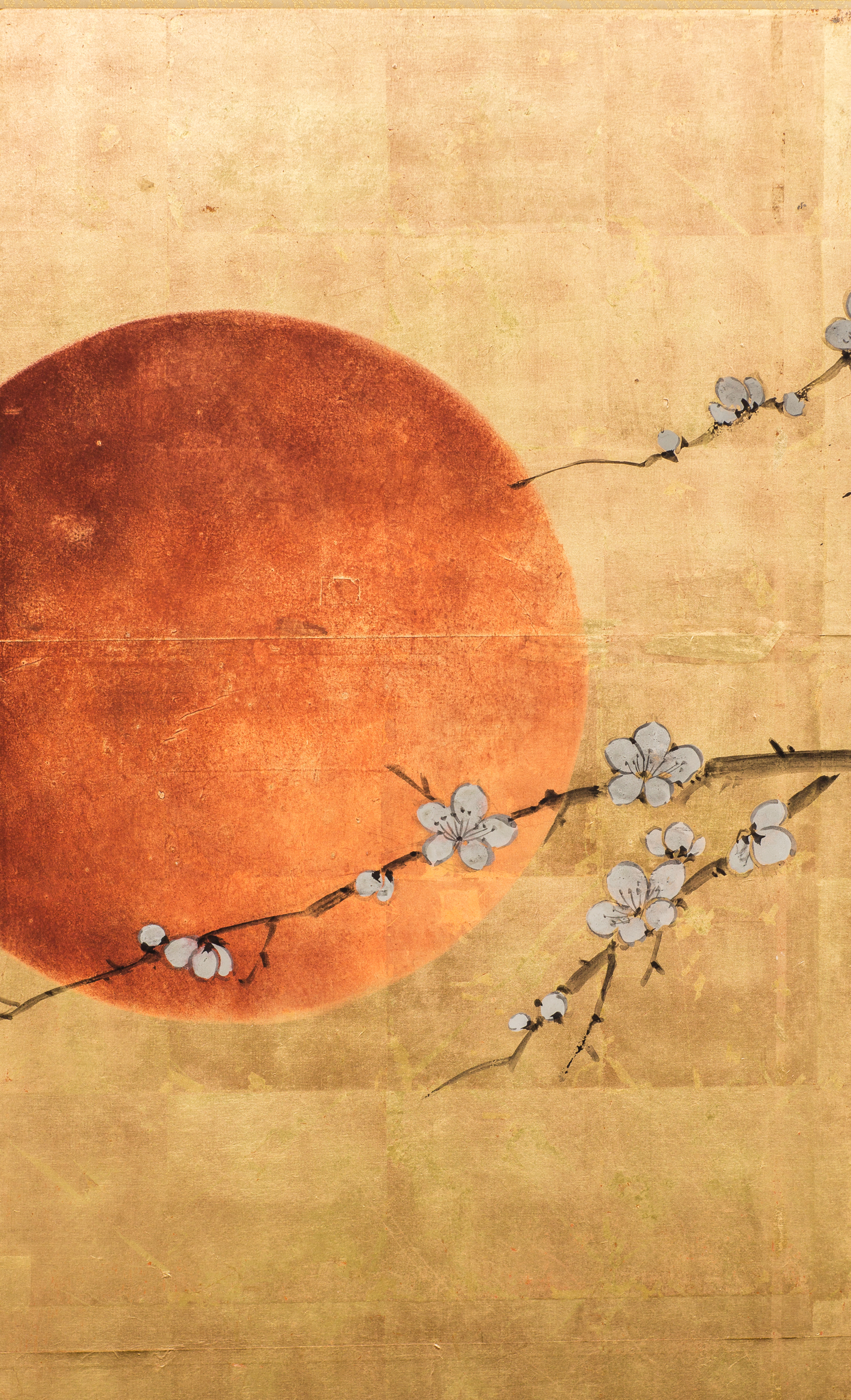 Japanese Four Panel Screen: Plum Blossom and Sun Over Cresting Waves