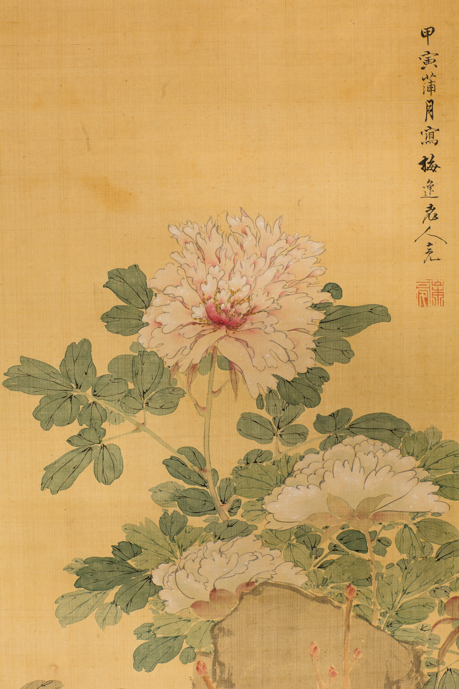 Antique Japanese Scroll of Peonies