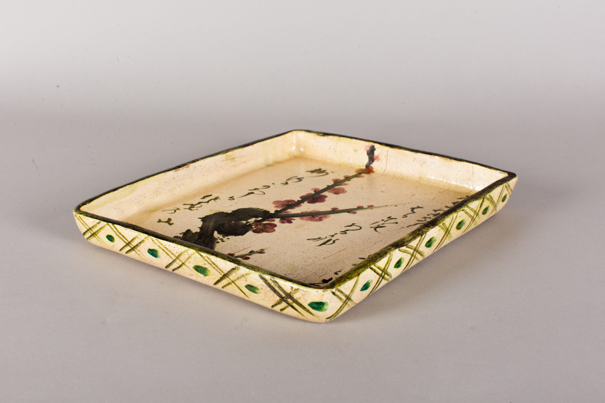 Antique Japanese Ceramic Tray with Plum and Calligraphy Design
