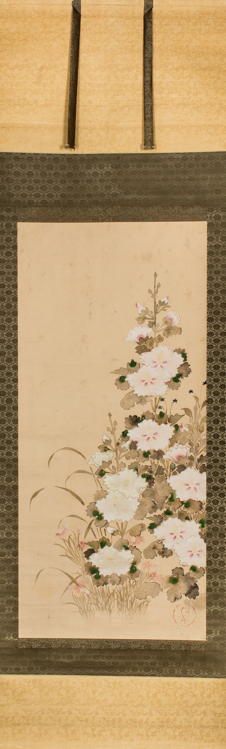 Antique Japanese Scroll of Hollyhocks